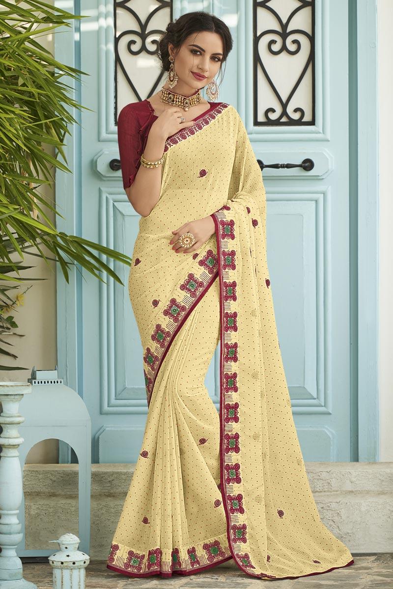 Sangeet Wear Fancy Beige Embroidered Saree In Chiffon Fabric