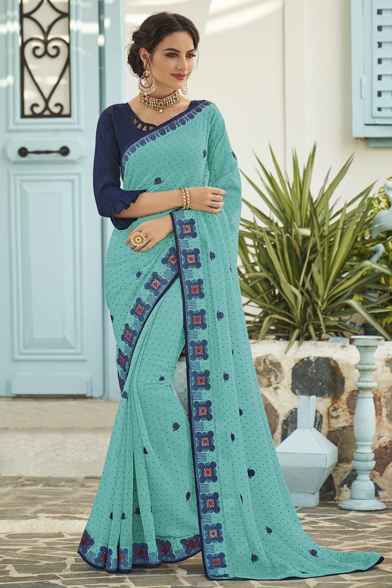 Cyan Fancy Chiffon Fabric Sangeet Wear Embroidered Saree