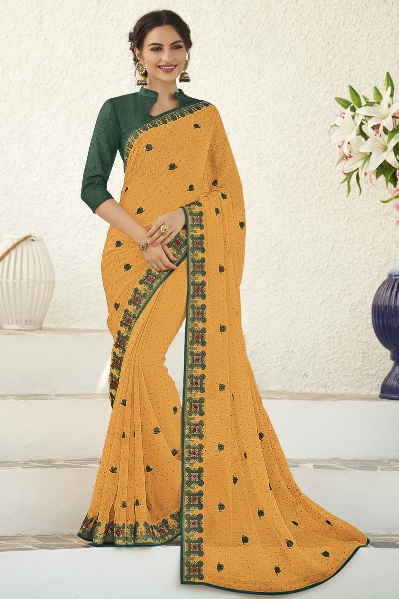 Fancy Sangeet Wear Orange Chiffon Fabric Embroidered Saree