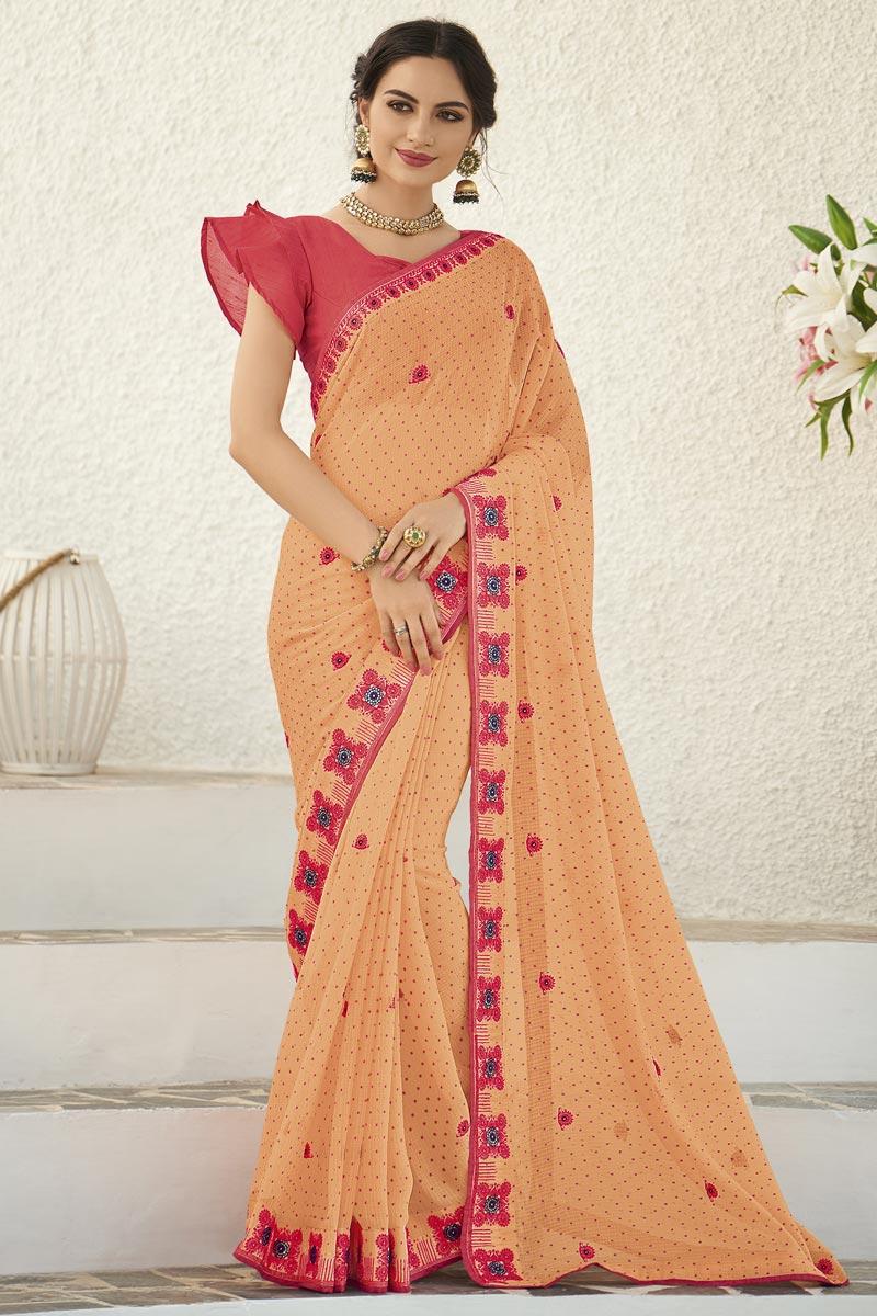 Peach Fancy Sangeet Wear Chiffon Fabric Embroidered Saree