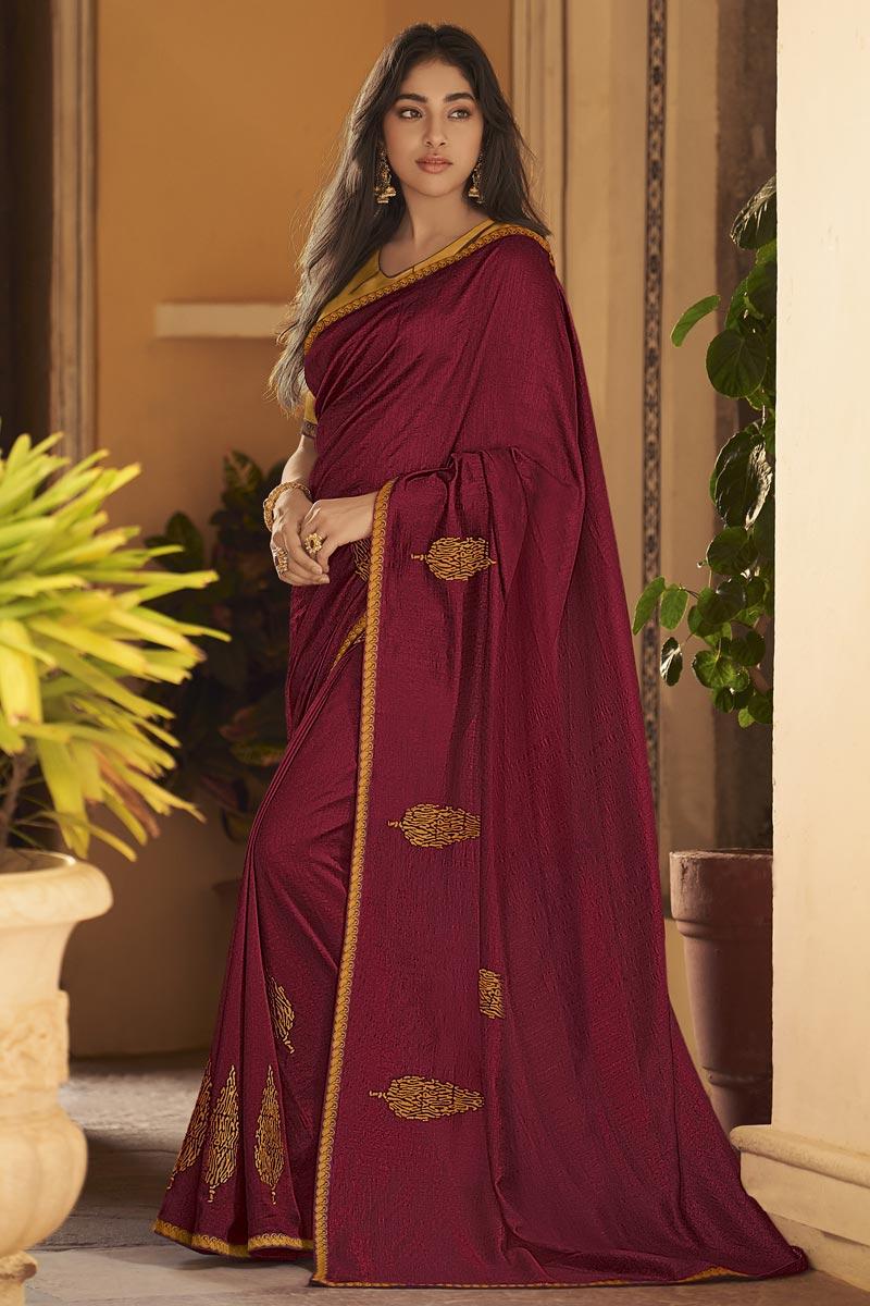 Art Silk Fabric Fancy Maroon Sangeet Wear Embroidered Saree