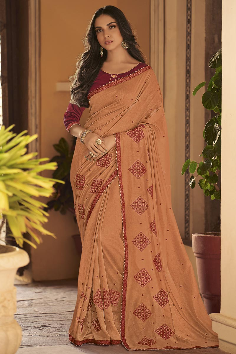 Fancy Peach Sangeet Function Wear Art Silk Fabric Embroidered Saree