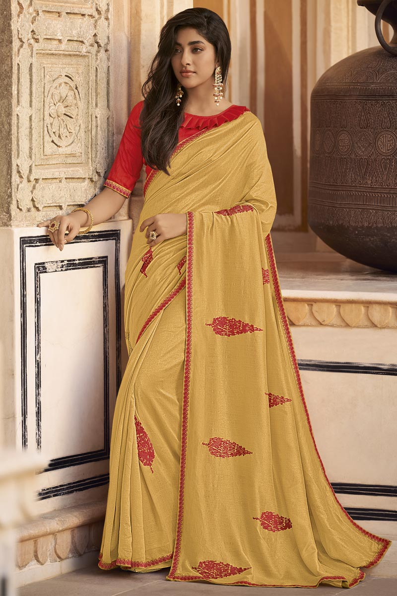 Sangeet Function Wear Fancy Art Silk Fabric Embroidered Saree In Beige