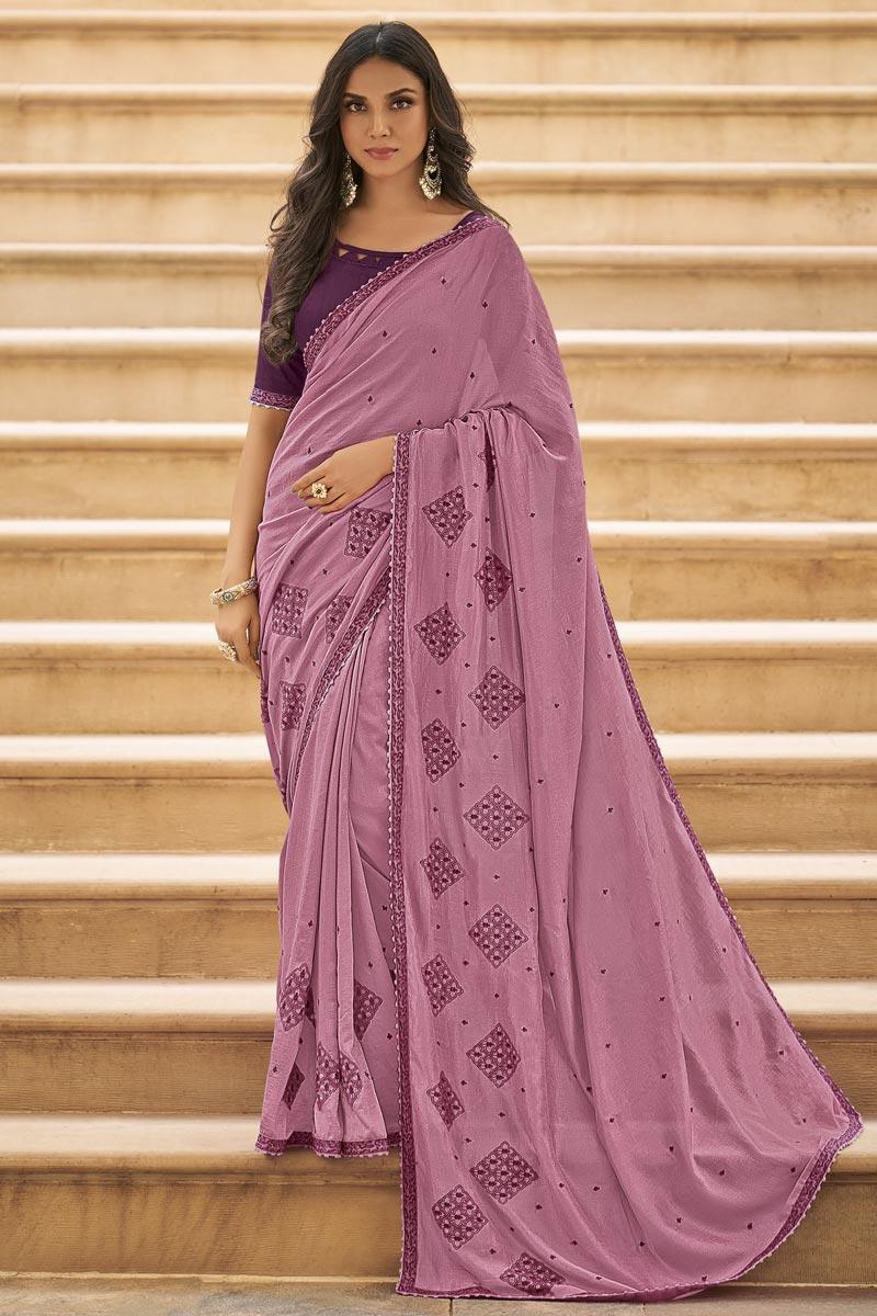 Art Silk Fabric Fancy Pink Sangeet Function Wear Embroidered Saree