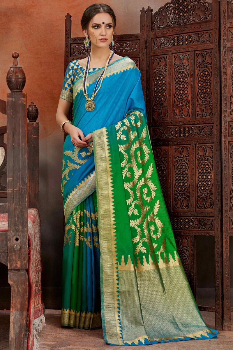 Art Silk Puja Wear Designer Weaving Work Sky Blue Saree