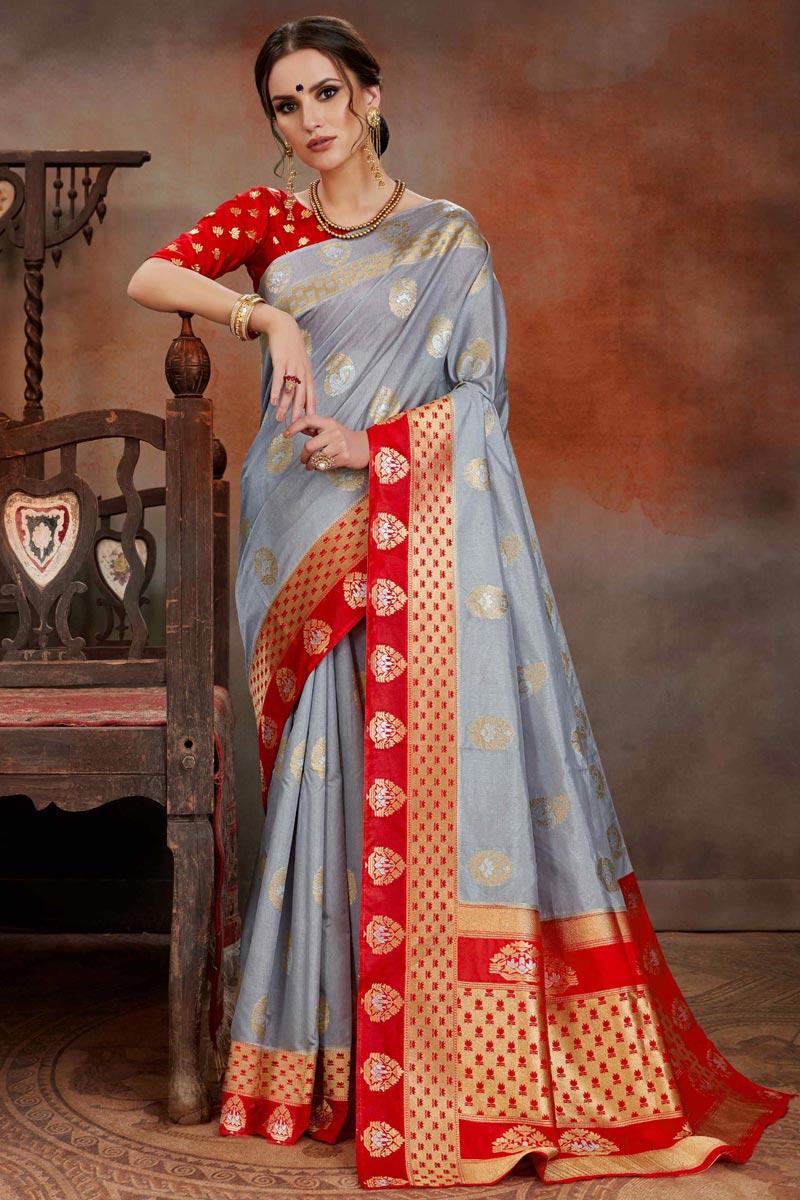 Grey Puja Wear Art Silk Weaving Work Designer Saree