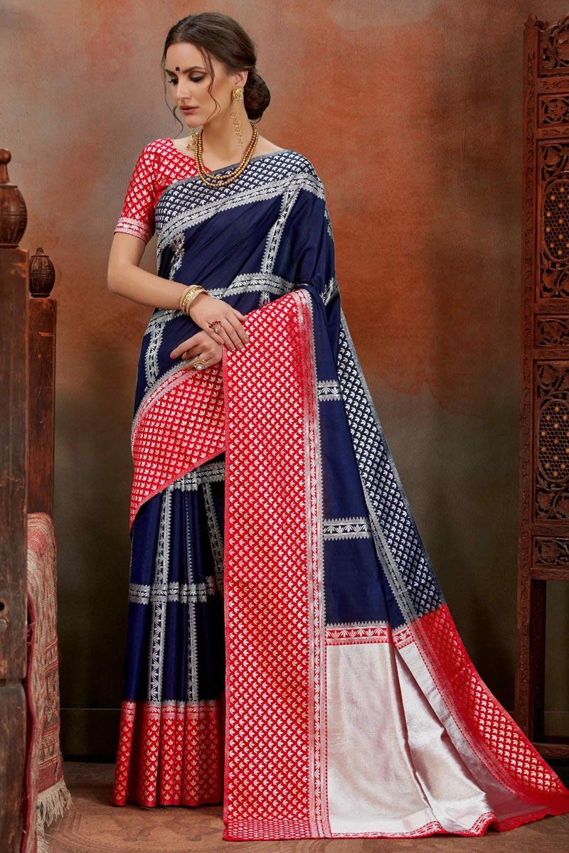 Art Silk Puja Wear Designer Weaving Work Saree In Navy Blue
