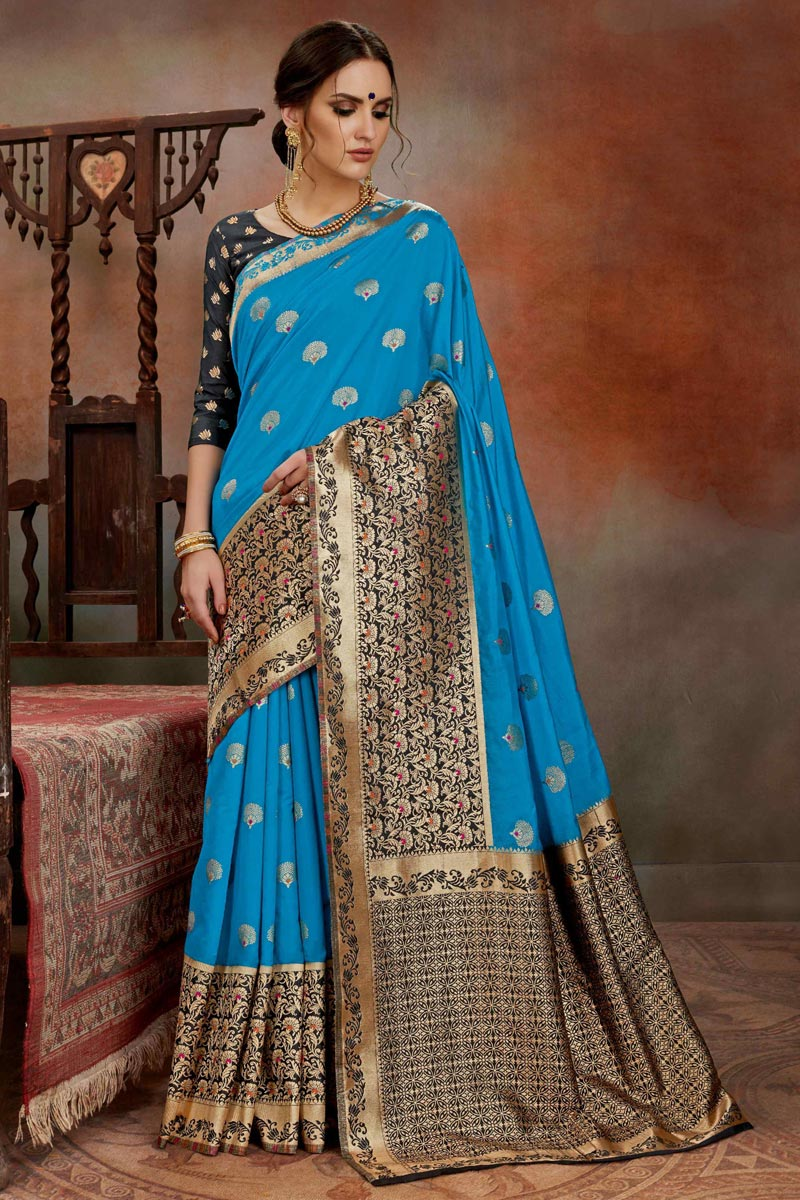 Art Silk Puja Wear Sky Blue Weaving Work Designer Saree