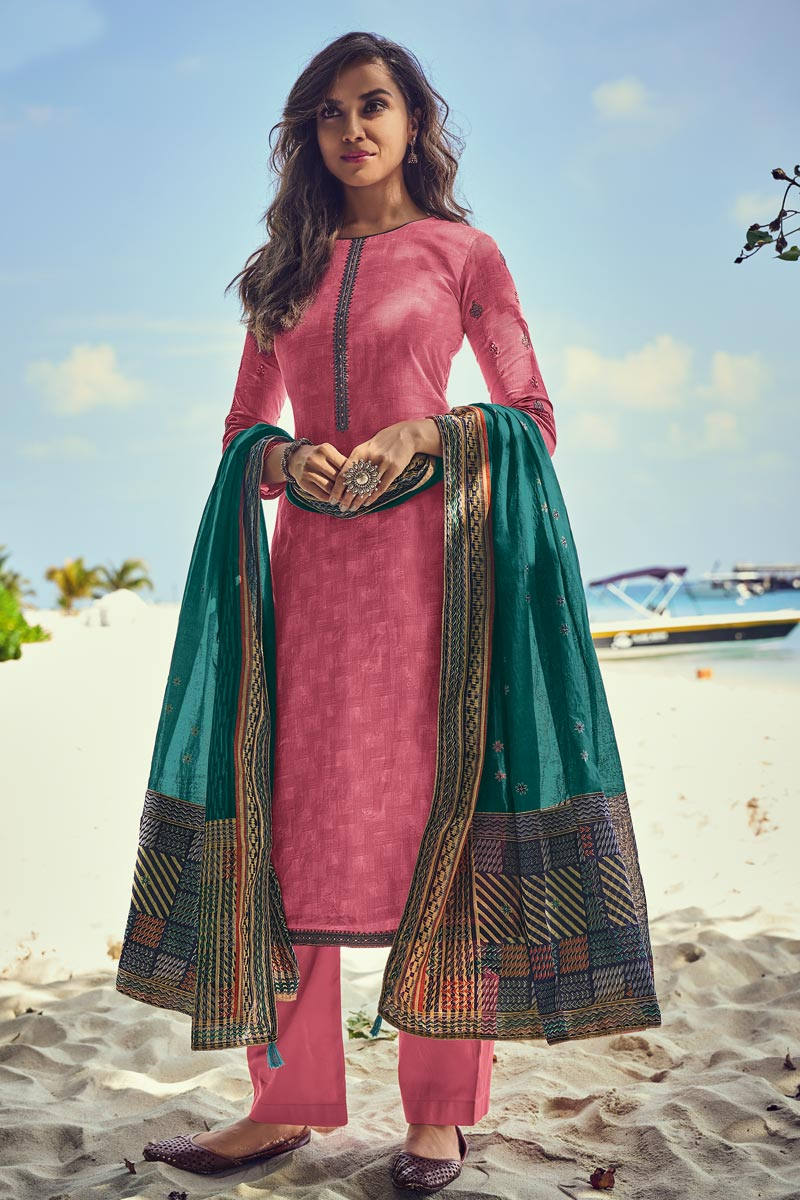 Cotton Fabric Designer Festive Wear Pink Embroidered Palazzo Suit