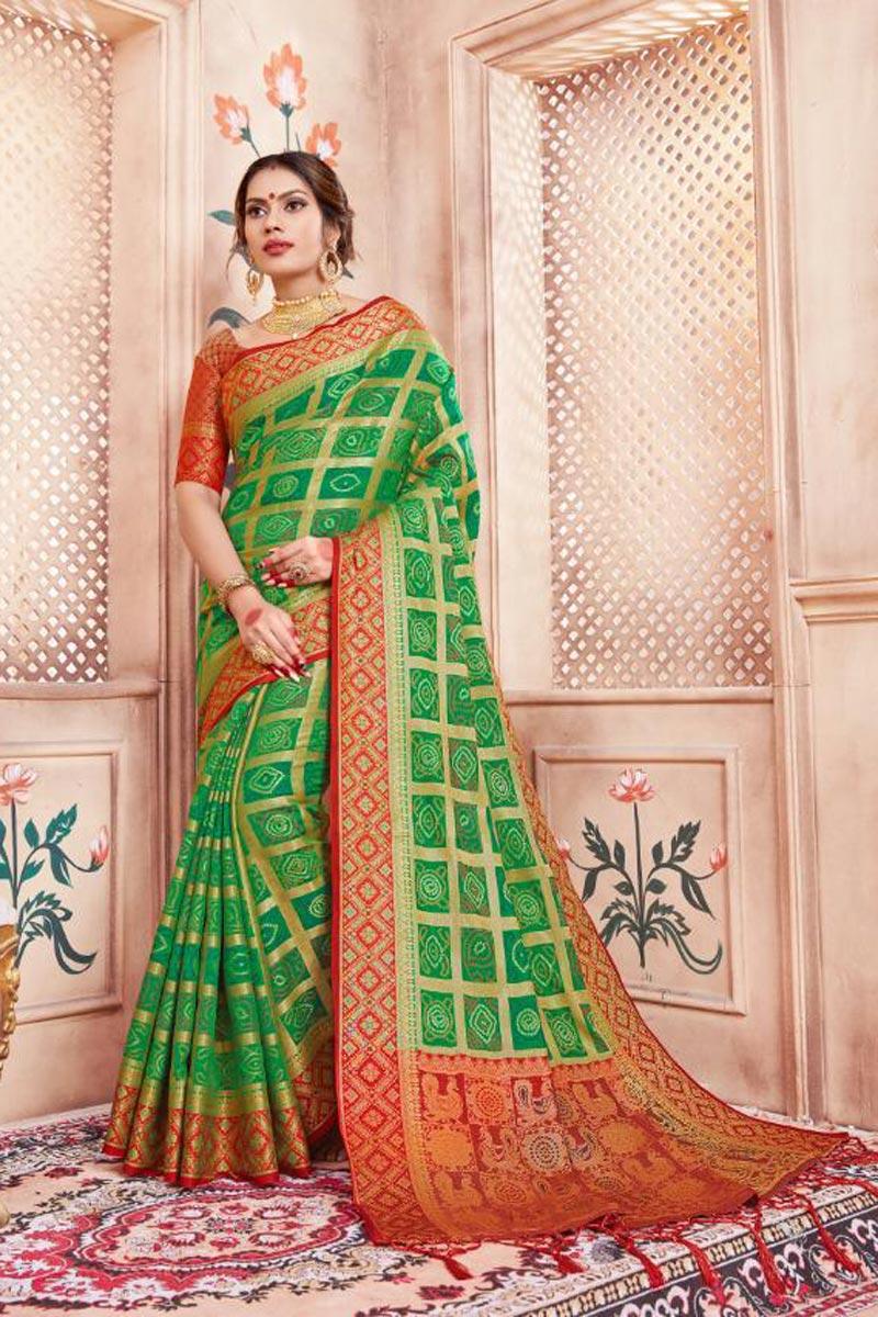 Art Silk Fabric Green Fancy Weaving Work Party Wear Saree