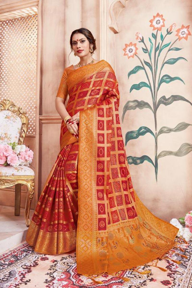 Party Wear Art Silk Fabric Red Fancy Weaving Work Saree