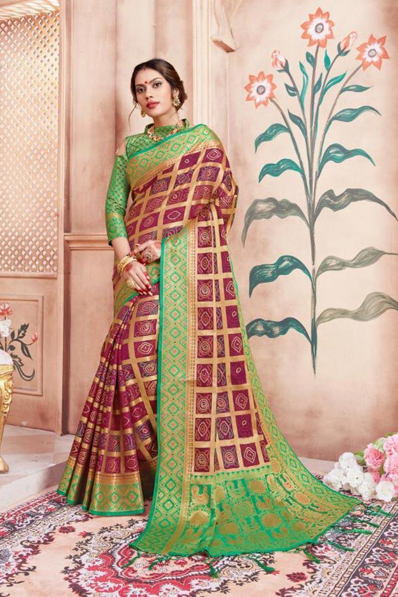 Art Silk Fabric Party Wear Fancy Weaving Work Saree In Maroon