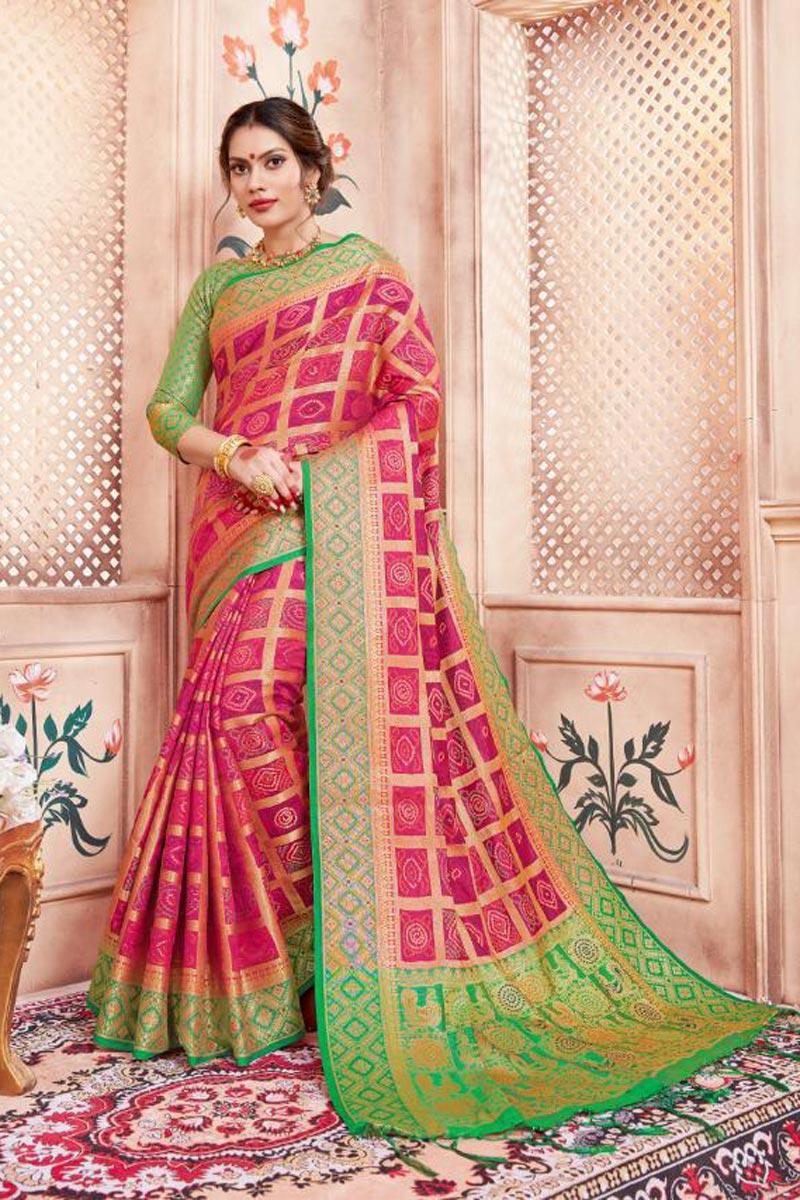 Art Silk Fabric Party Wear Pink Fancy Weaving Work Saree
