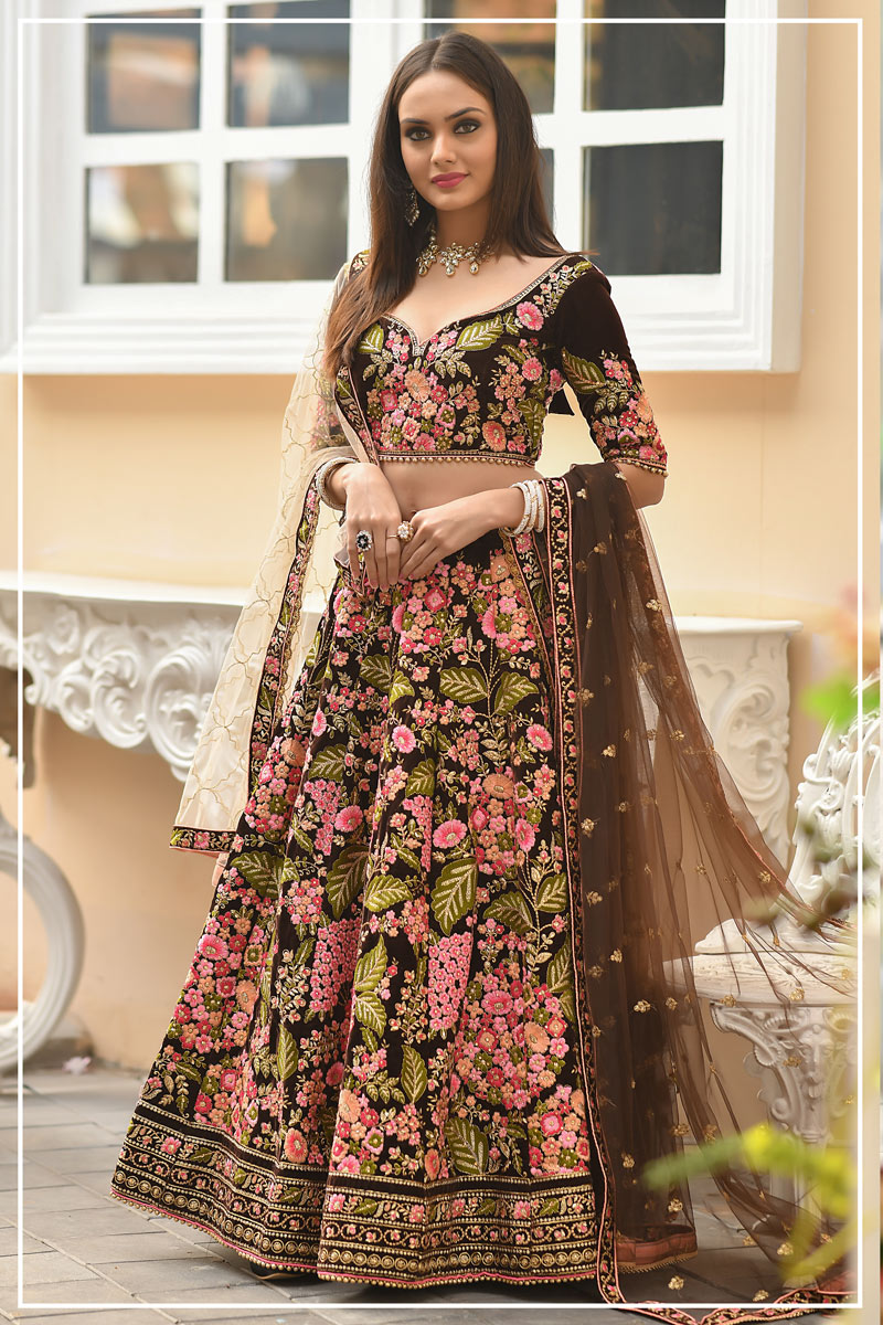 Brown Color Wedding Wear 3 Piece Lehenga In Velvet Fabric With Embroidery Work