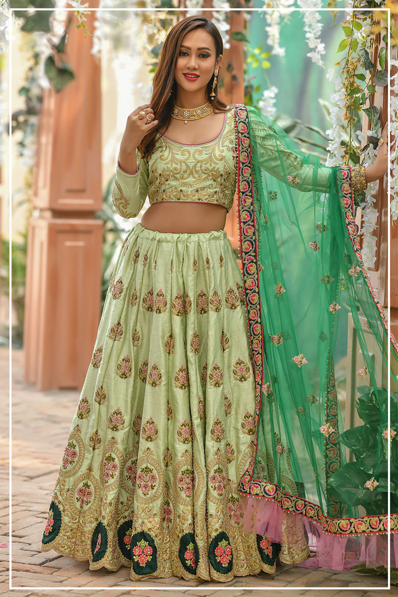 Embroidered Light Olive Color Wedding Wear Lehenga In Art Silk Fabric With Designer Choli