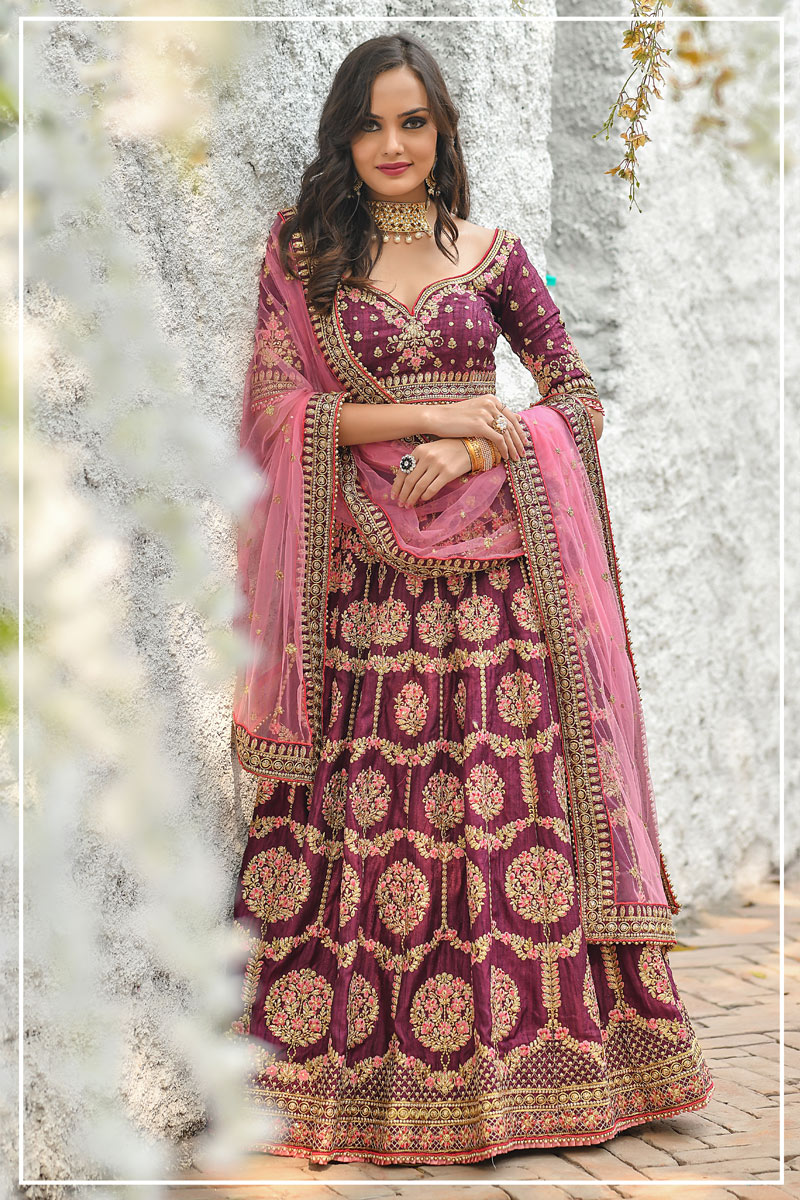 Eid Special Art Silk Fabric Wedding Wear 3 Piece Lehenga In Wine Color With Embroidery Work