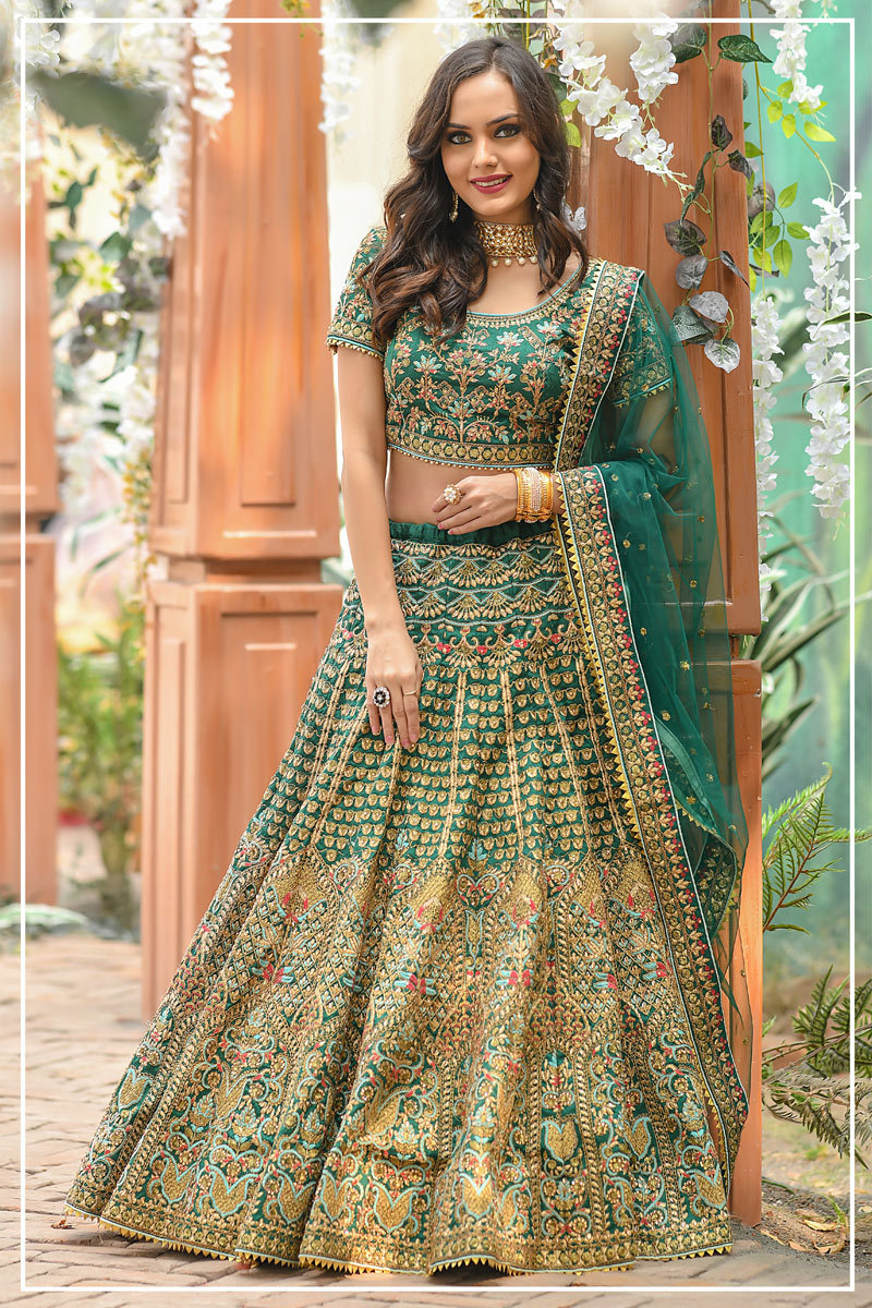 Teal Color Art Silk Fabric Reception Wear Lehenga Choli With Embroidery Work