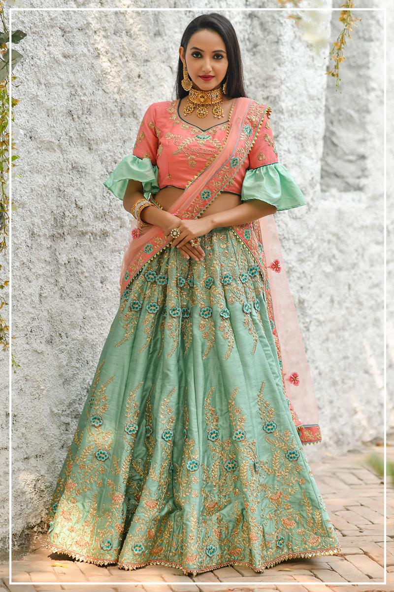 Eid Special Art Silk Fabric Sea Green Color Wedding Wear 3 Piece Lehenga Choli With Embroidery Work