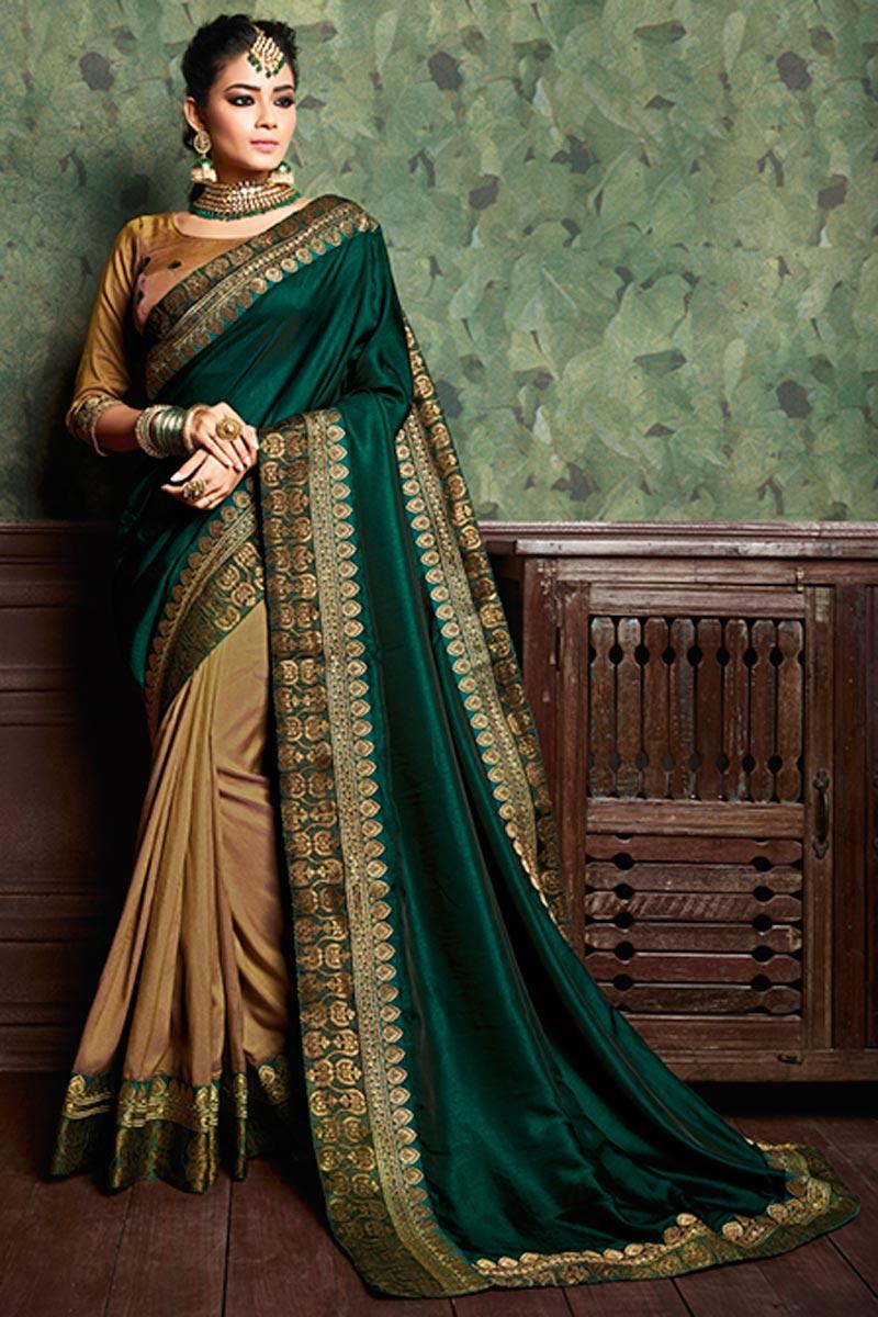 Designer Beige Festive Wear Plain Art Silk Saree With Boder Work