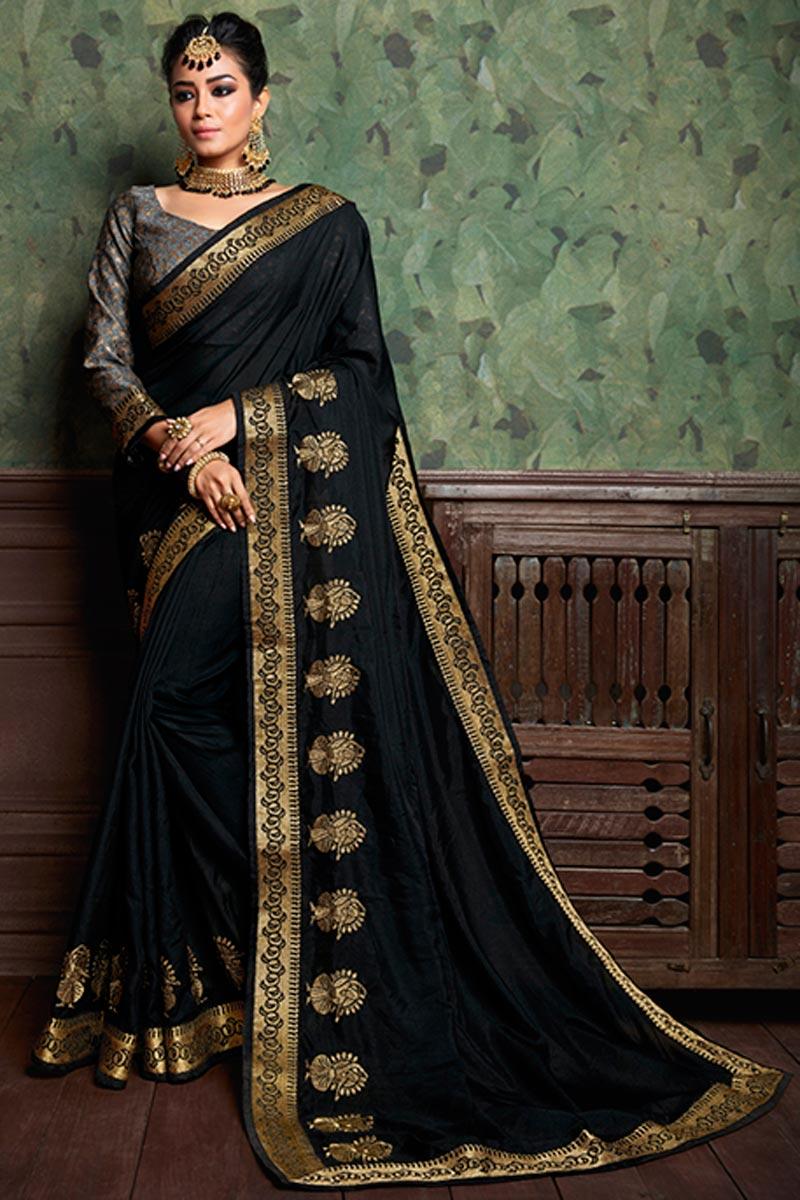Designer Black Festive Wear Art Silk Plain Saree With Boder Work