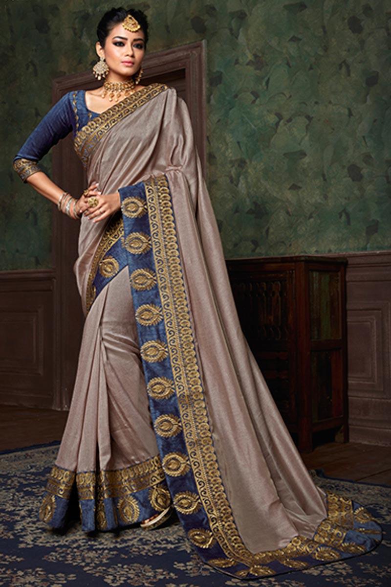 Cream Art Silk Designer Function Wear Plain Saree With Heavy Boder