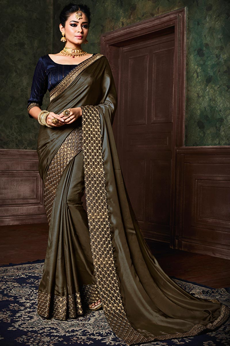 Dark Beige Art Silk Designer Party Wear Plain Saree With Boder Work