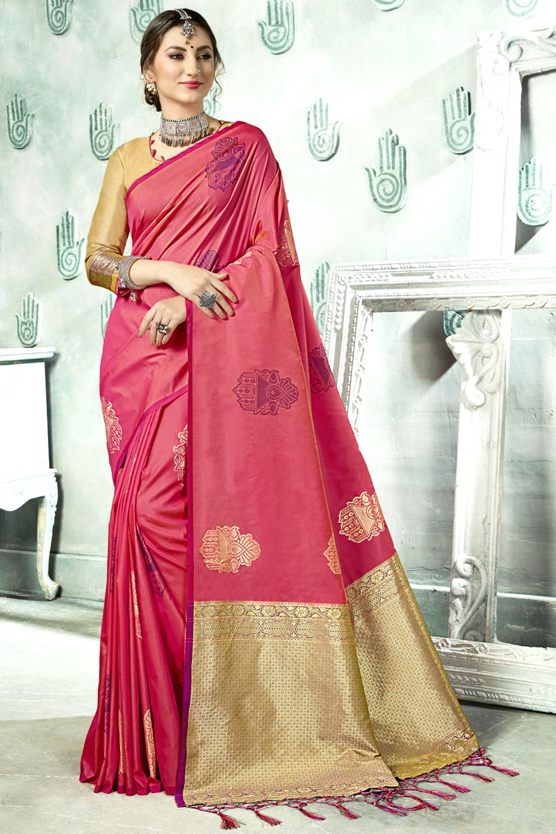 Weaving Work Pink Color Art Silk Fabric Party Wear Saree With Blouse