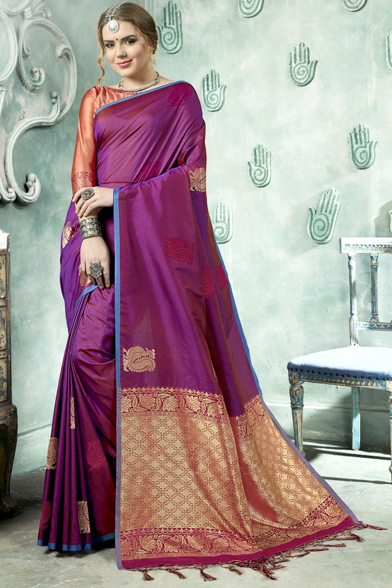 Purple Color Sangeet Wear Saree With Weaving Work In Art Silk Fabric