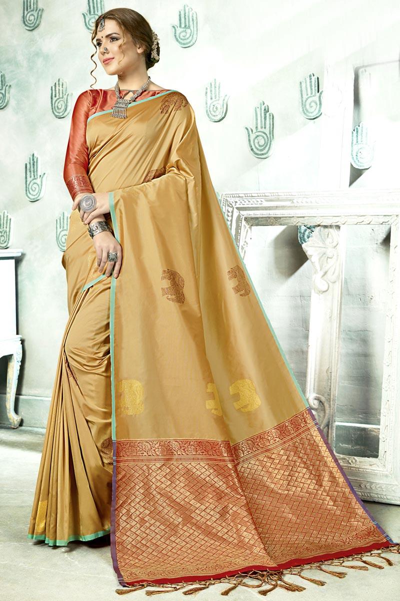 Fancy Beige Designer Festive Wear Art Silk Saree With Weaving Work