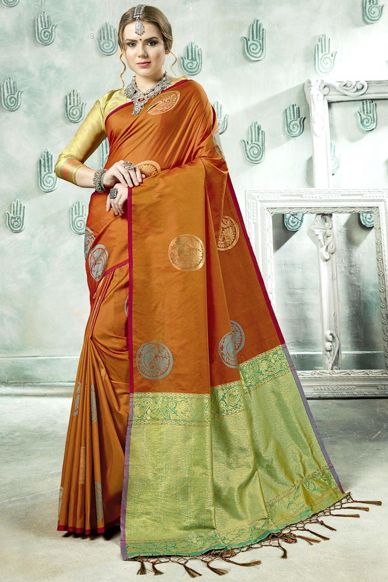 Festive Wear Orange Designer Weaving Work Art Silk Fancy Saree