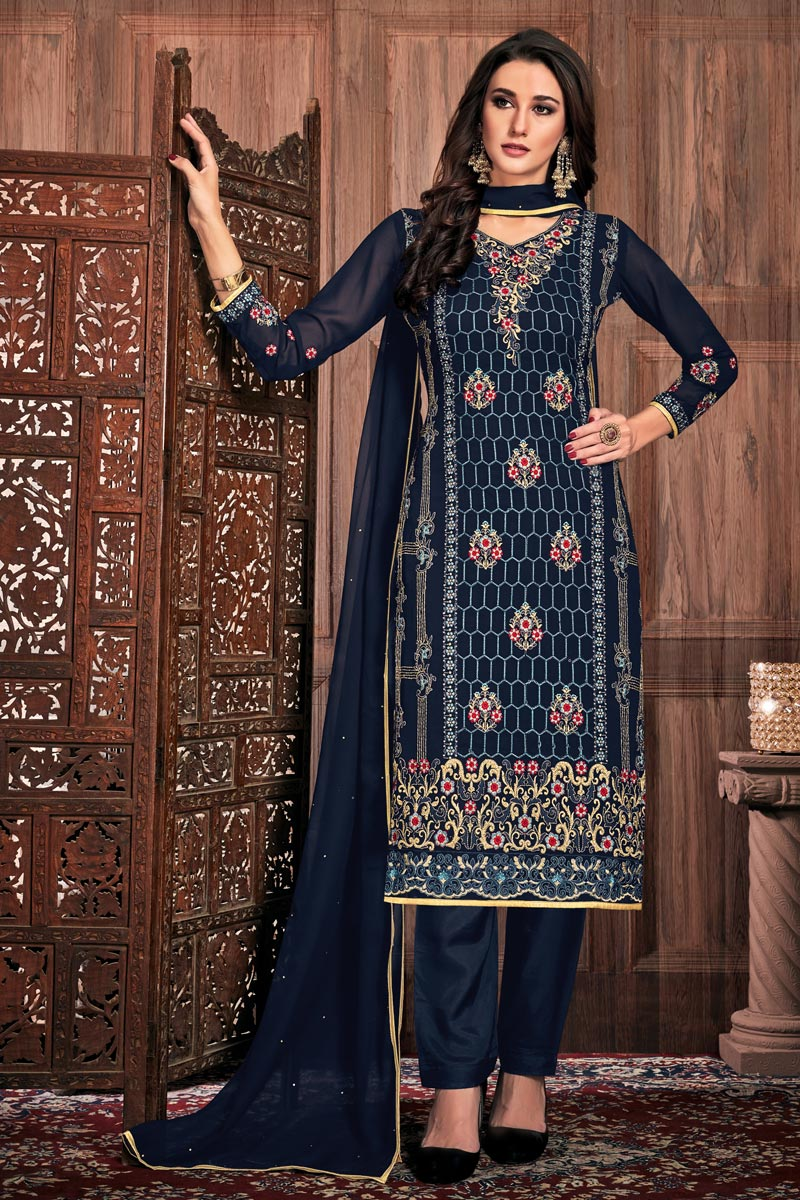 Navy Blue Fancy Embroidered Party Style Straight Cut Dress In Georgette