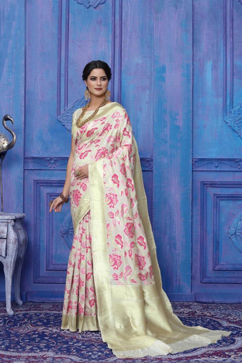 Party Wear Art Silk Off White Color Fancy Weaving Work Saree