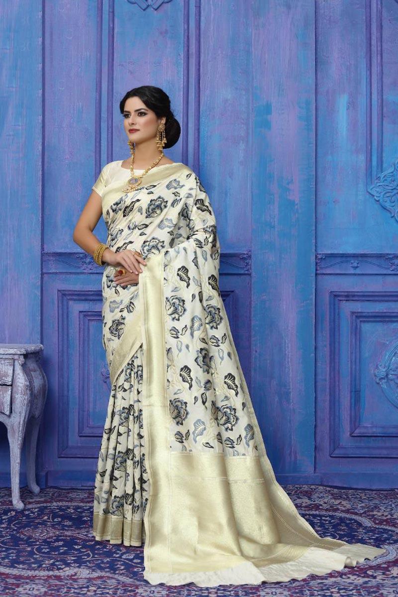 Art Silk Party Wear Fancy Weaving Work Saree In Off White Color