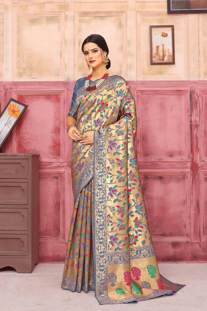 Art Silk Grey Fancy Weaving Work Party Style Saree
