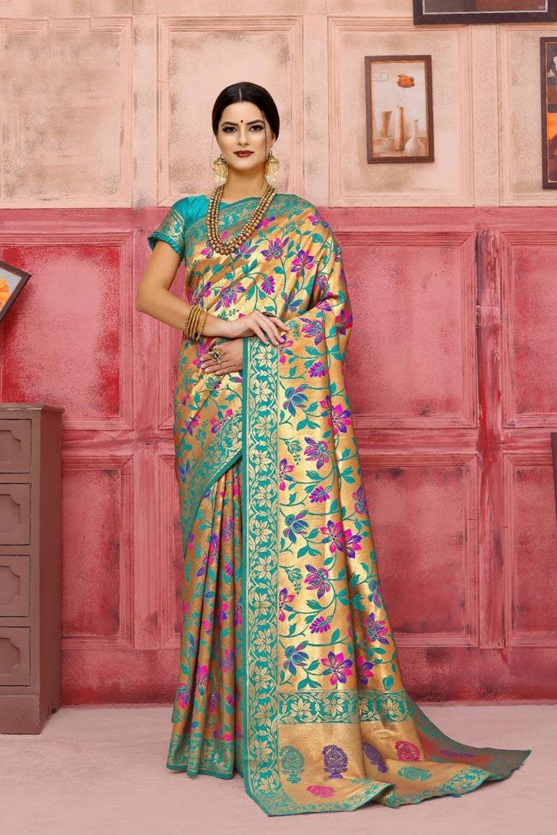 Art Silk Party Style Fancy Weaving Work Saree In Cyan