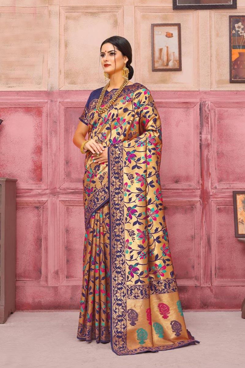 Fancy Weaving Work Blue Party Style Art Silk Saree