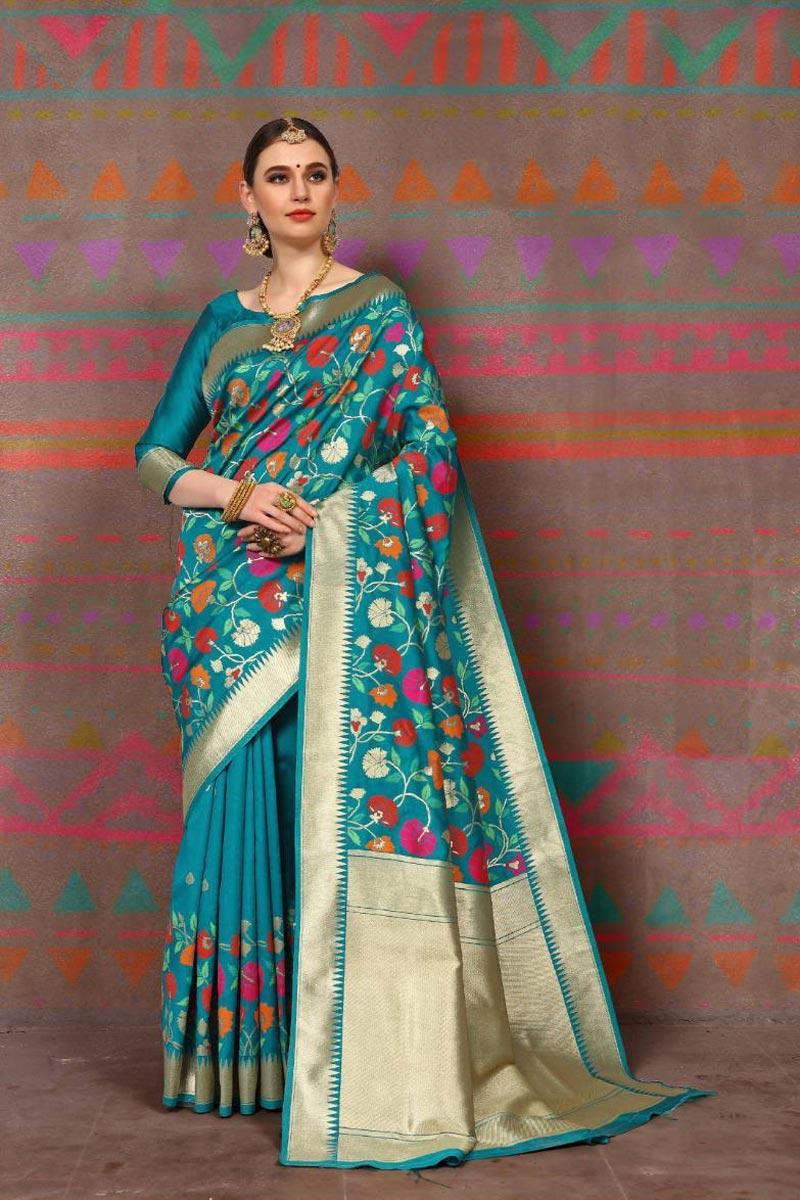 Art Silk Fabric Party Style Fancy Weaving Work Saree In Cyan