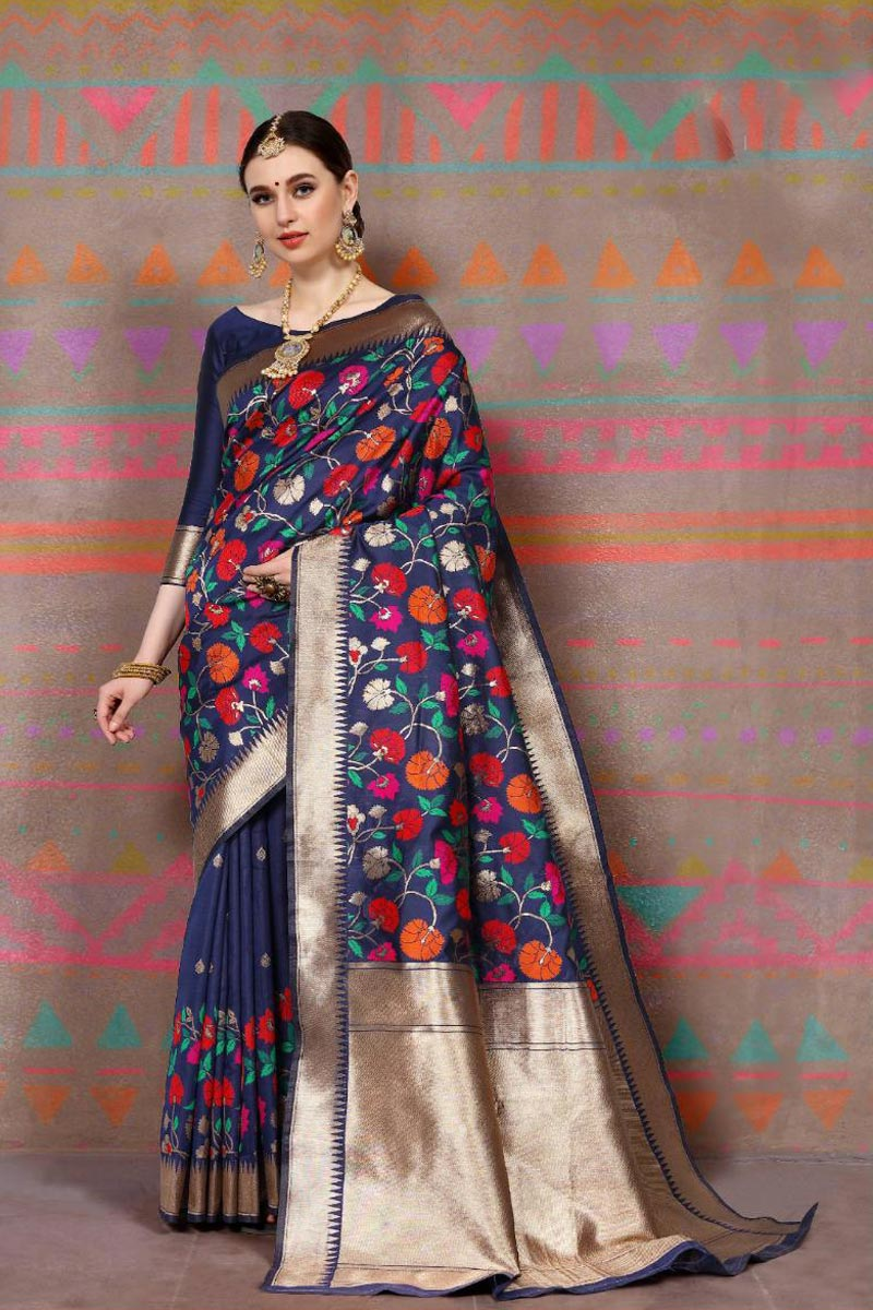 Fancy Weaving Work Navy Blue Party Style Art Silk Fabric Saree