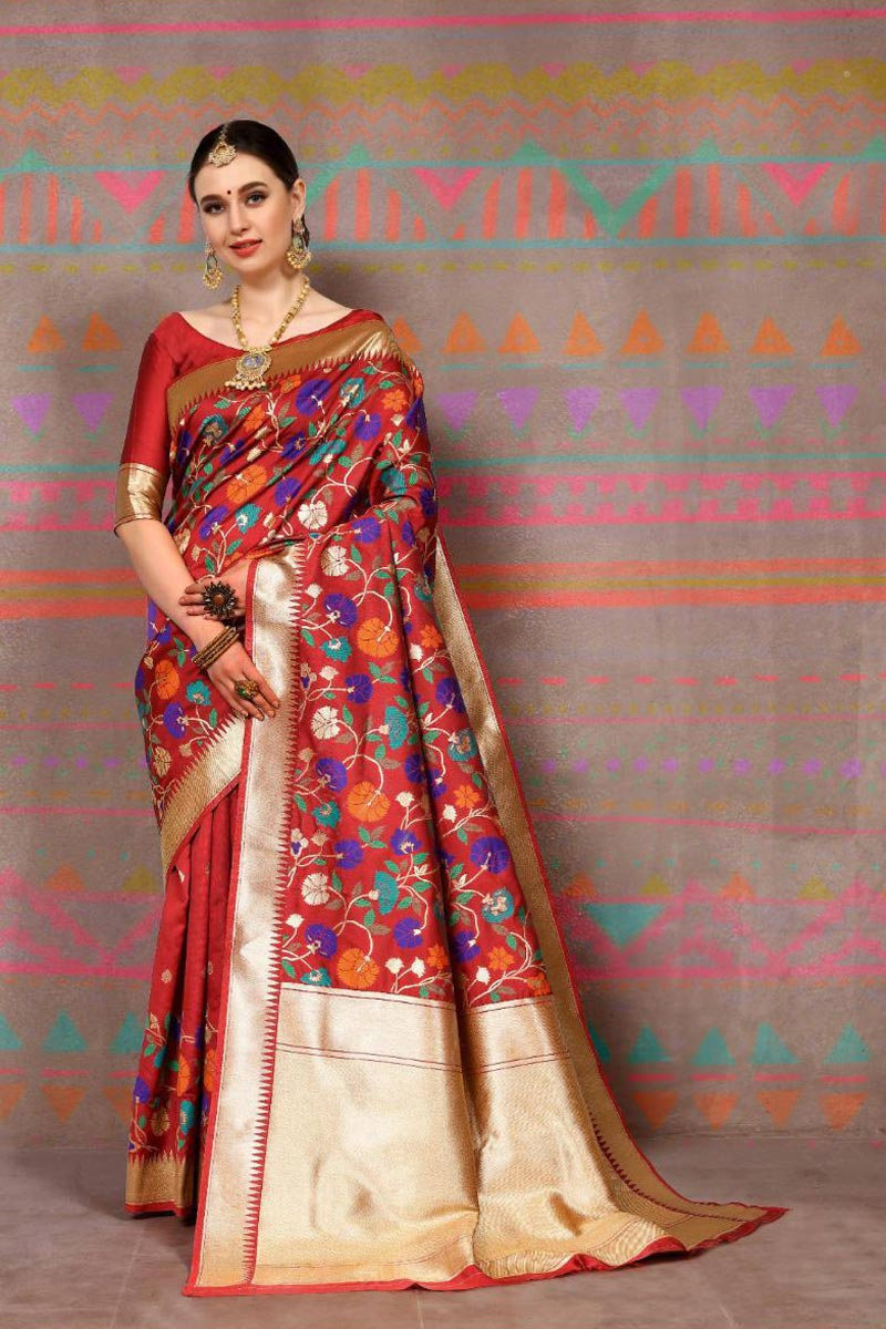 Art Silk Fabric Party Style Red Fancy Weaving Work Saree