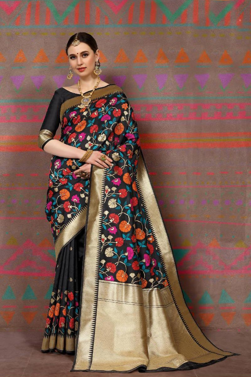 Party Style Black Fancy Weaving Work Saree In Art Silk Fabric