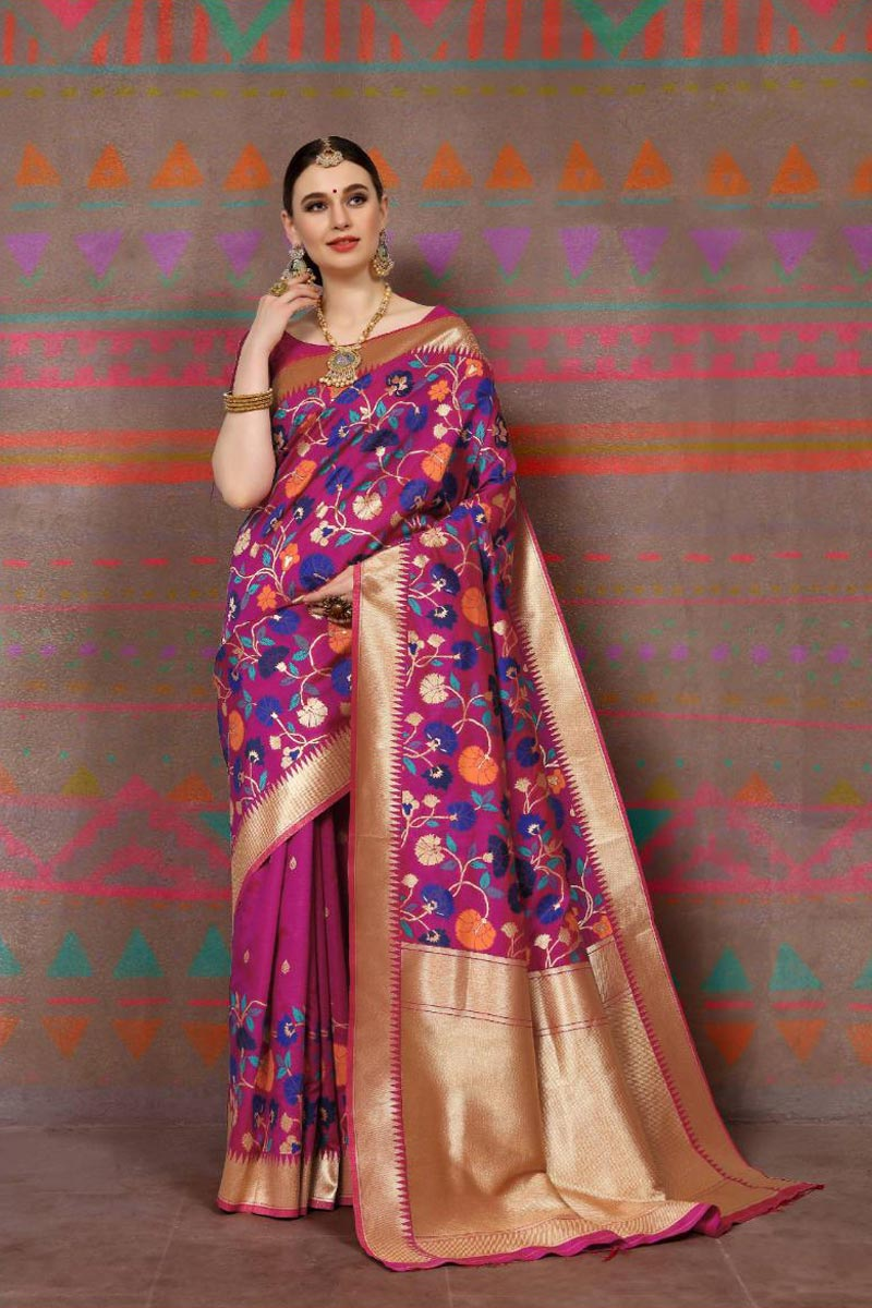 Art Silk Fabric Magenta Color Fancy Weaving Work Party Style Saree