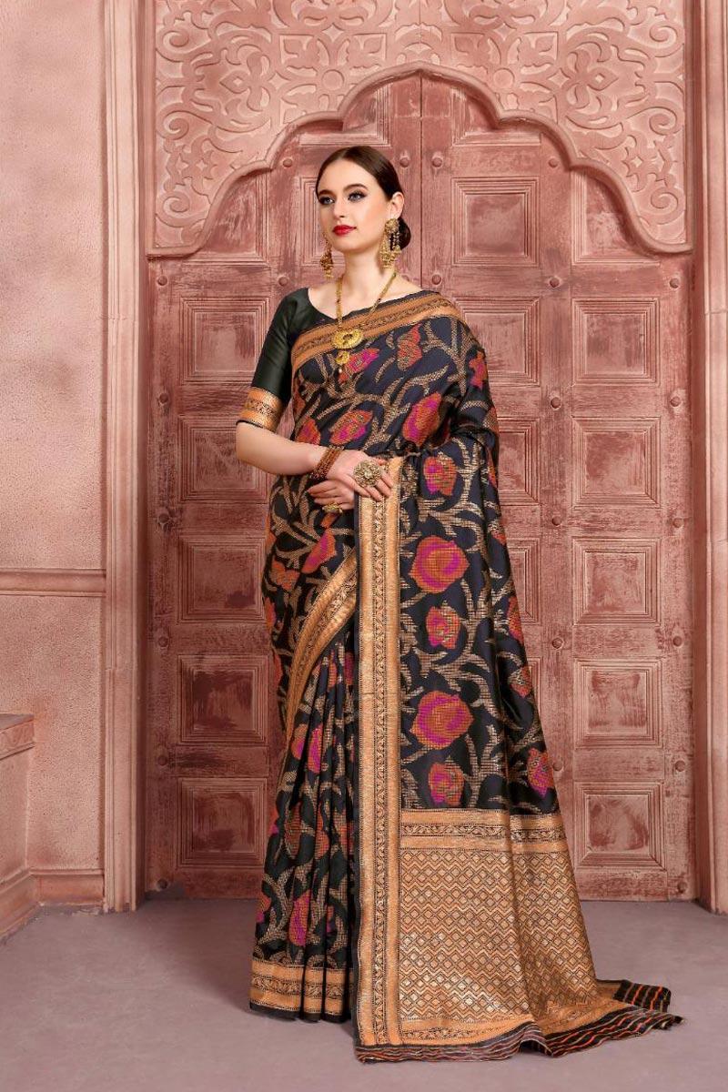 Art Silk Fabric Black Color Fancy Weaving Work Function Wear Saree