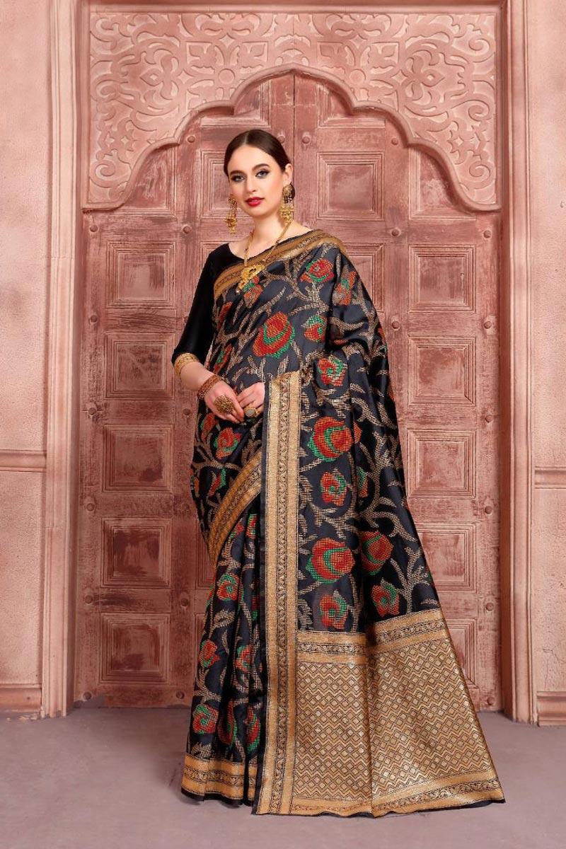 Function Wear Art Silk Fabric Black Color Fancy Weaving Work Saree