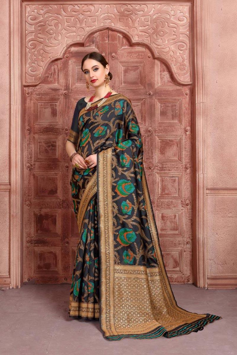Art Silk Fabric Function Wear Fancy Weaving Work Saree In Black Color
