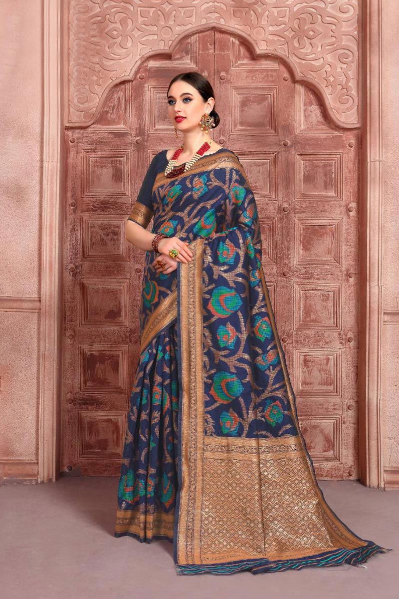Fancy Weaving Work Navy Blue Color Function Wear Art Silk Fabric Saree