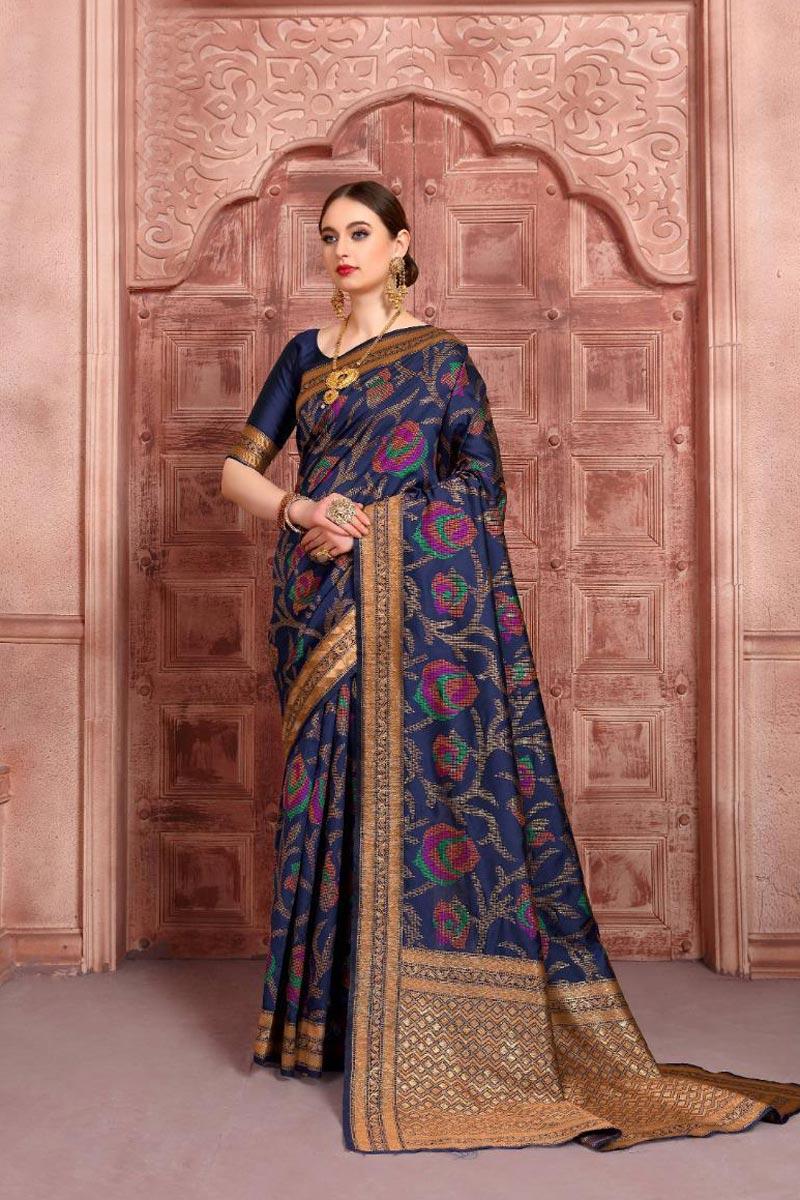 Art Silk Fabric Function Wear Navy Blue Color Fancy Weaving Work Saree