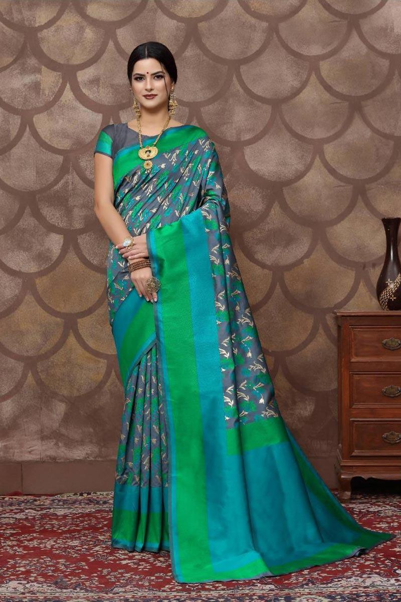 Grey Color Art Silk Fabric Fancy Weaving Work Function Wear Saree