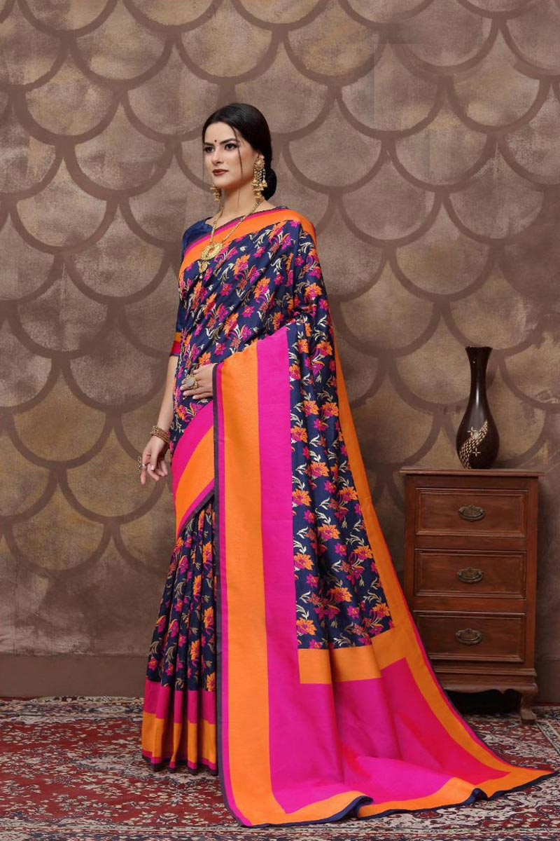 Fancy Weaving Work Art Silk Fabric Function Wear Navy Blue Color Saree