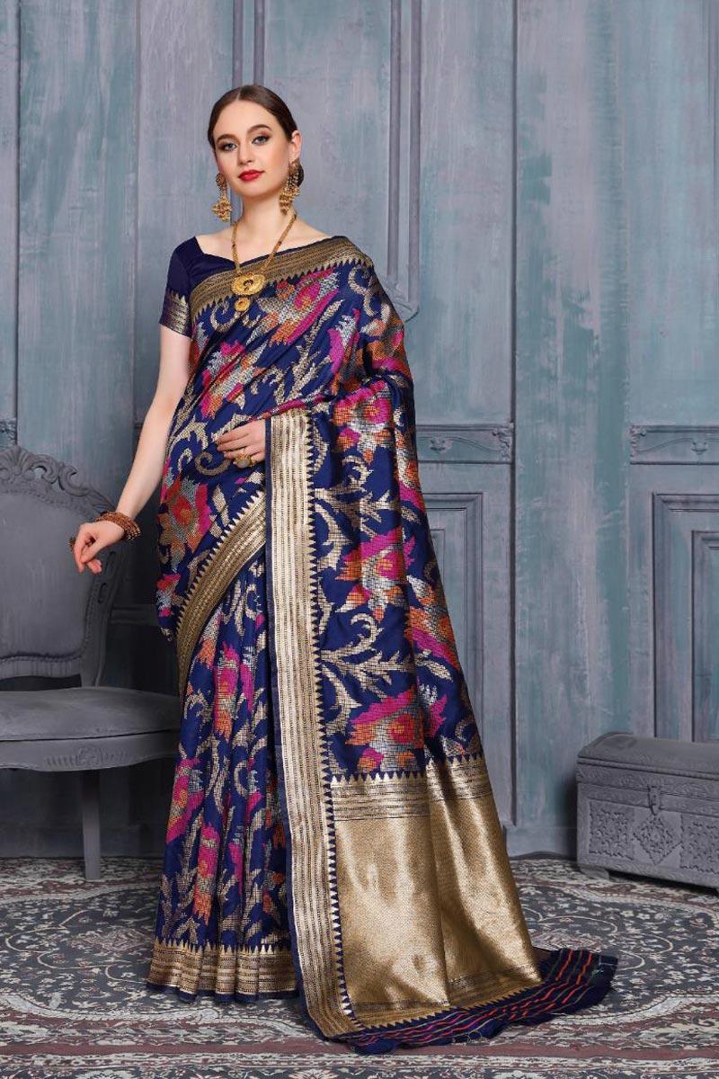 Art Silk Navy Blue Color Fancy Weaving Work Sangeet Function Wear Saree