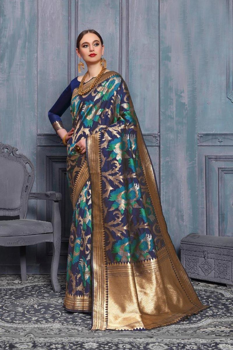 Sangeet Function Wear Art Silk Navy Blue Color Fancy Weaving Work Saree